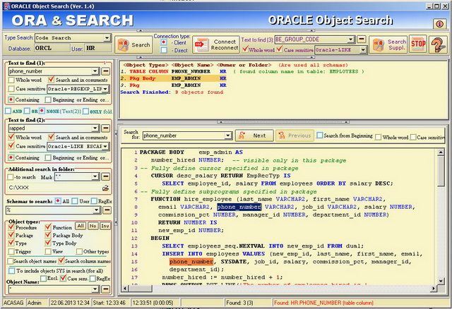 Click to view ORACLE Object Search screenshots